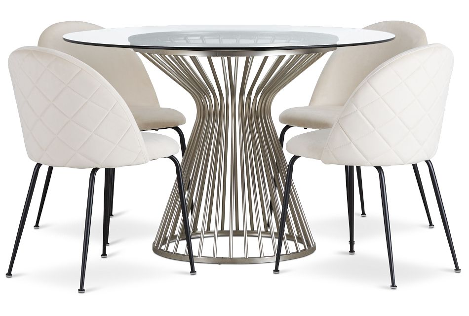 Munich Silver Glass Table & 4 Upholstered Chairs,  (1)
