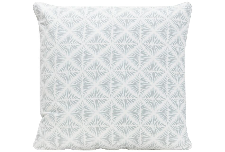 Gem Field Light Teal Fabric Square Accent Pillow