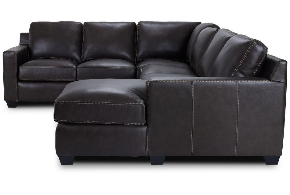 Carson Dark Brown Leather Medium Right Chaise Sectional,  (2)