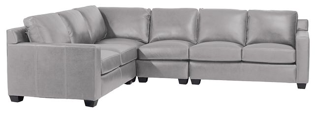 Carson Gray Leather Medium Two-arm Sectional (0)