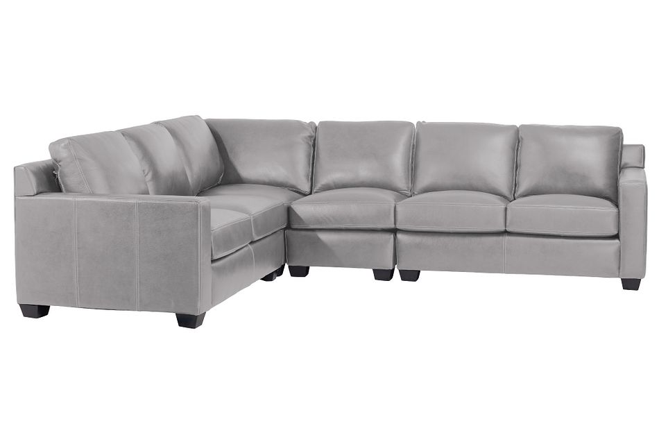 Carson Gray Leather Medium Two-arm Sectional