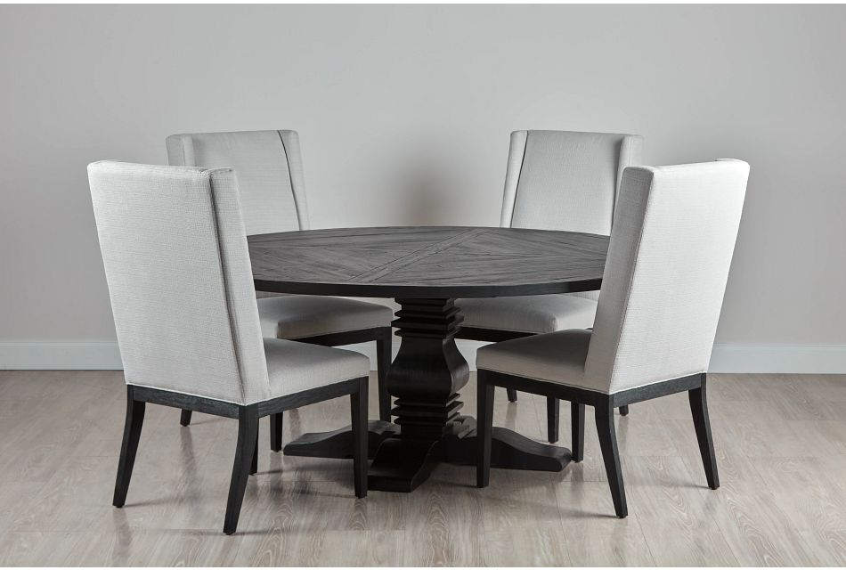 "Hadlow Black 72"" Table & 4 Upholstered Chairs"
