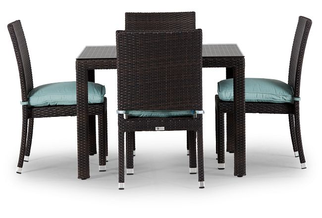 """Zen Teal 40"""" Square Table & 4 Chairs"""