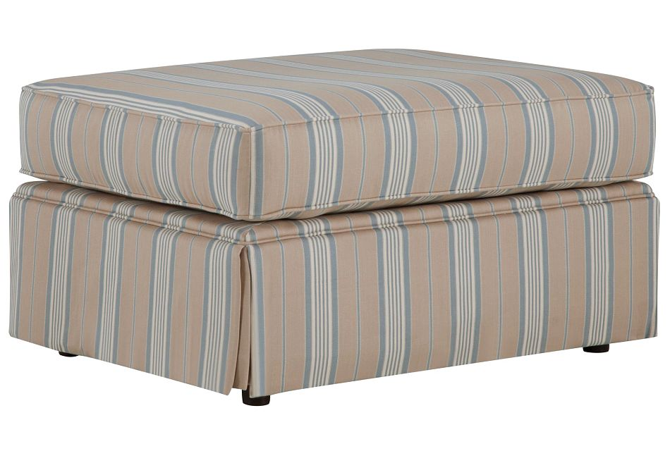 Jolie Light Blue Stripe Ottoman