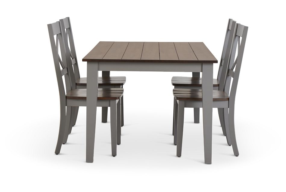 Sumter Gray Rect Table & 4 Wood Chairs,  (2)