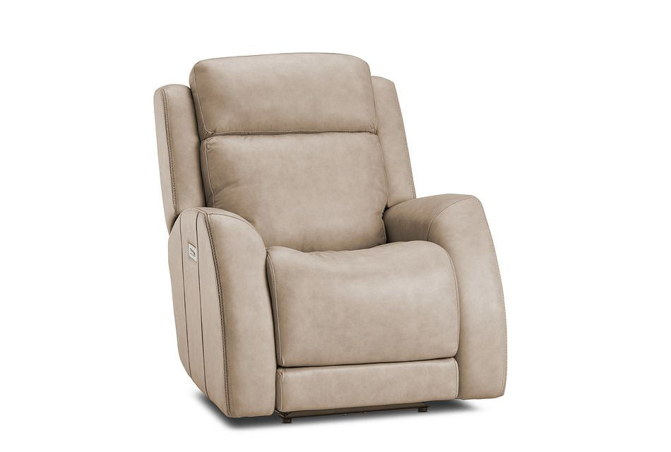 Rawlings Taupe Leather Power Recliner