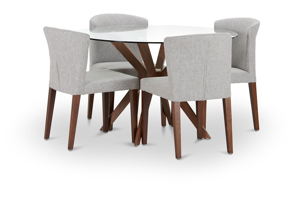 Fresno Glass Lt Gray Round Table & 4 Upholstered Chairs
