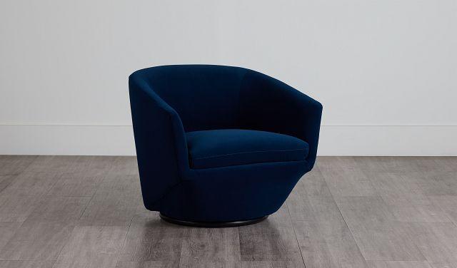 Darian Dark Blue Velvet Swivel Accent Chair (0)