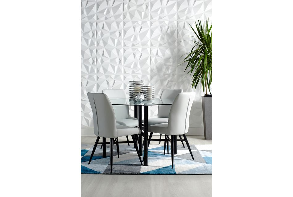 Lemans Gray Glass Table & 4 Upholstered Chairs