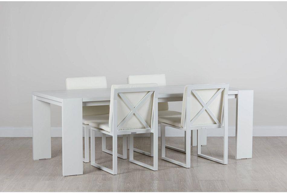 "Linear White 87"" Aluminum Table & 4 Cushioned Side Chairs"