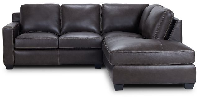 Carson Dark Brown Leather Right Bumper Sectional (3)
