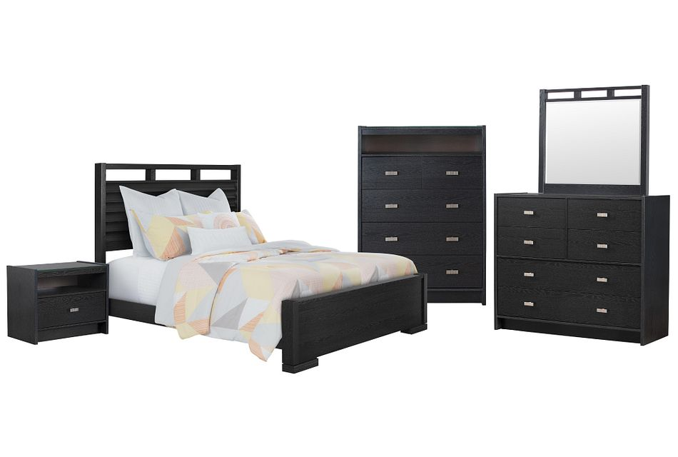 Sutton Dark Tone Wood Slat Panel Bedroom Package