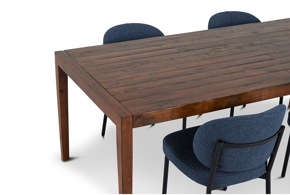 Chicago Dark Tone Rect Table & 4 Dark Blue Upholstered Chairs