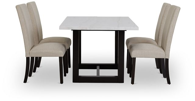 Paloma White Marble Rectangular Table & 4 Upholstered Chairs (3)