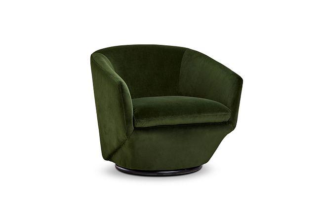 Darian Dark Green Velvet Swivel Accent Chair