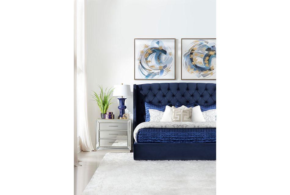 Raven Dark Blue Uph Platform Bed
