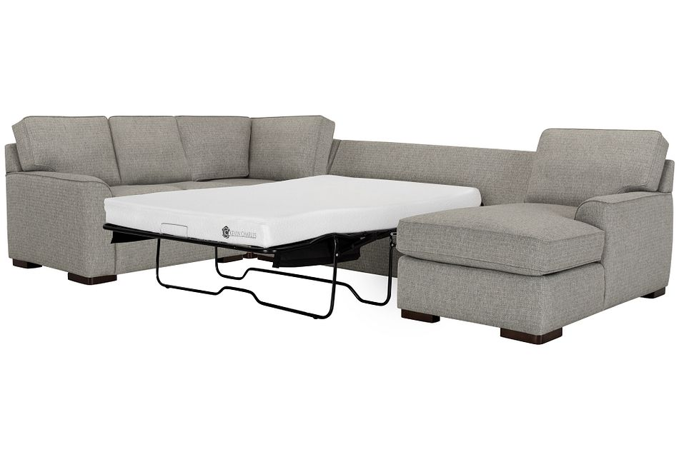 Austin GRAY FABRIC Right Chaise Memory Foam Sleeper Sectional