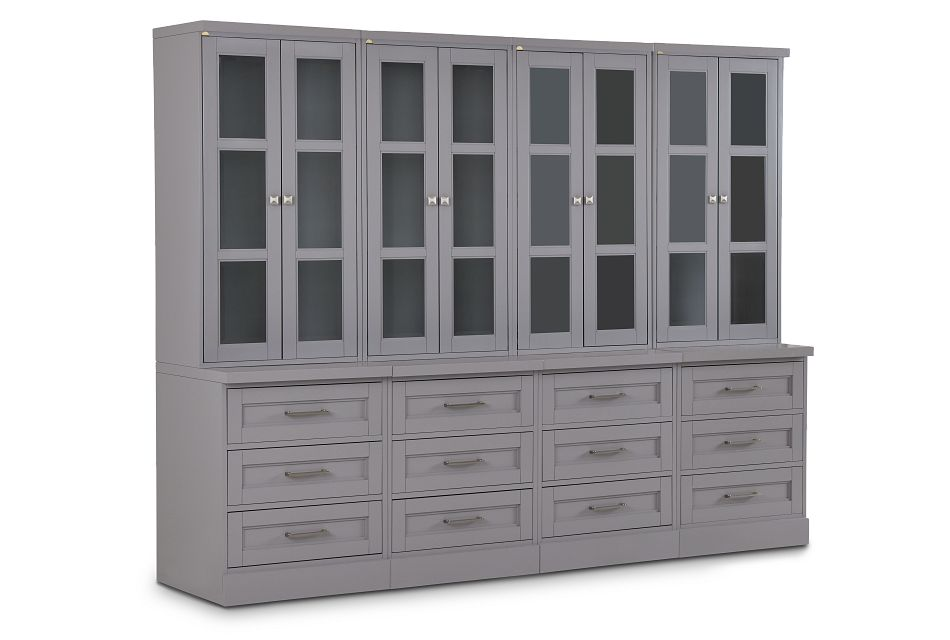 Newport Gray Drawer Bookcase Wall,  (2)