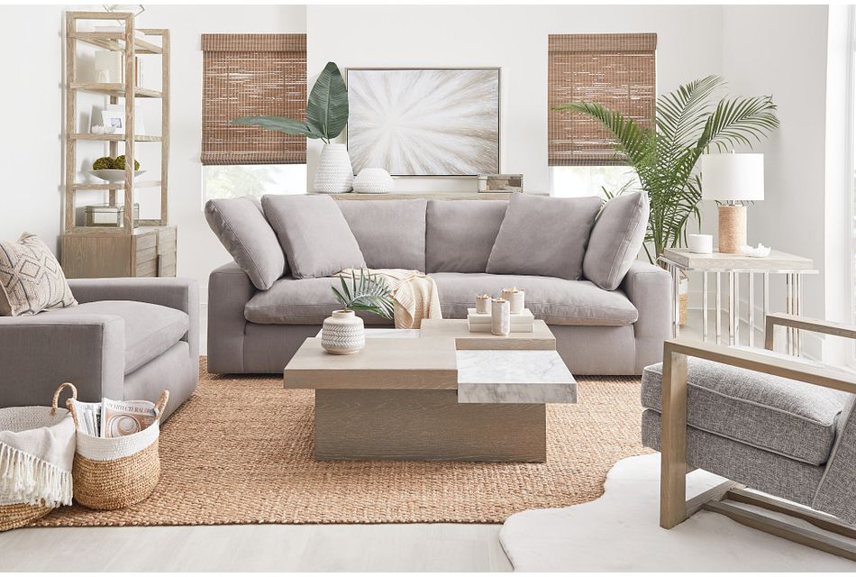 Nixon Light Gray Fabric Sofa Living