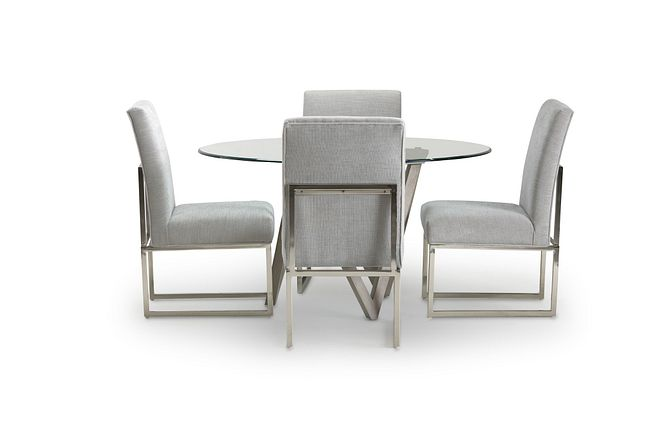Tribeca Light Tone Glass Round Table & 4 Metal Chairs