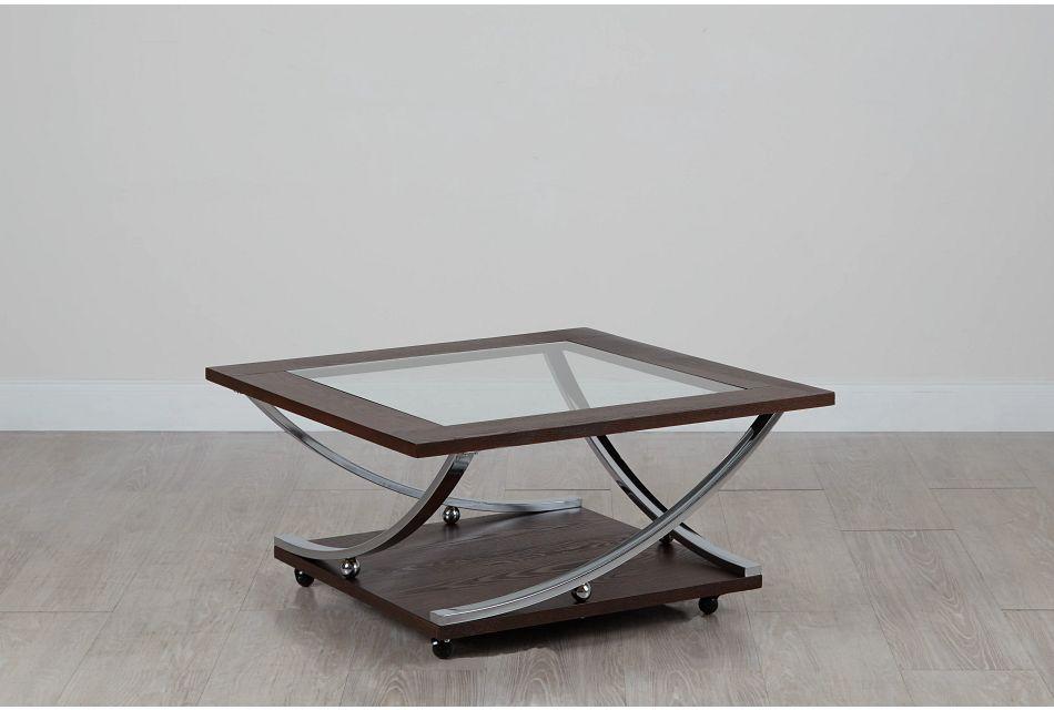 Tabitha Dark Tone Glass Square Coffee Table
