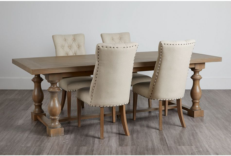 Haddie Light Tone Trestle Table & 4 Upholstered Chairs