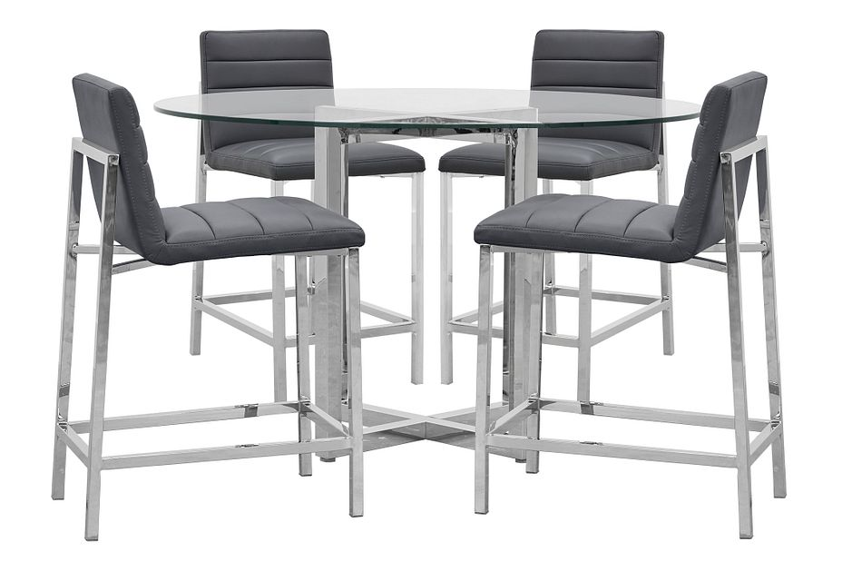 Amalfi Gray Glass High Table & 4 Upholstered Barstools