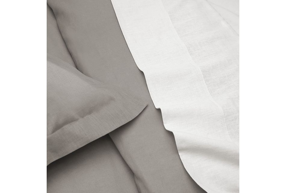 Linen Blend Gray Duvet Set