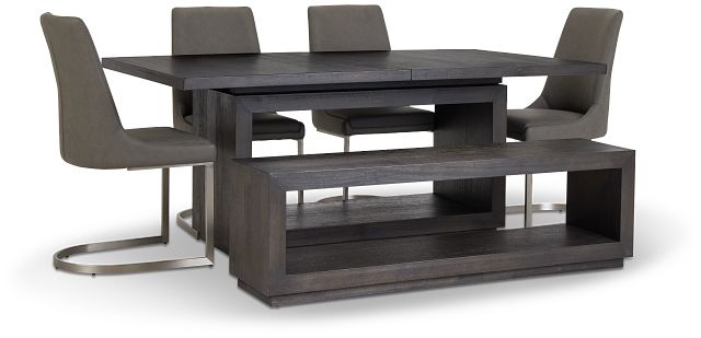Madden Dark Tone Table, 4 Chairs & Bench (1)