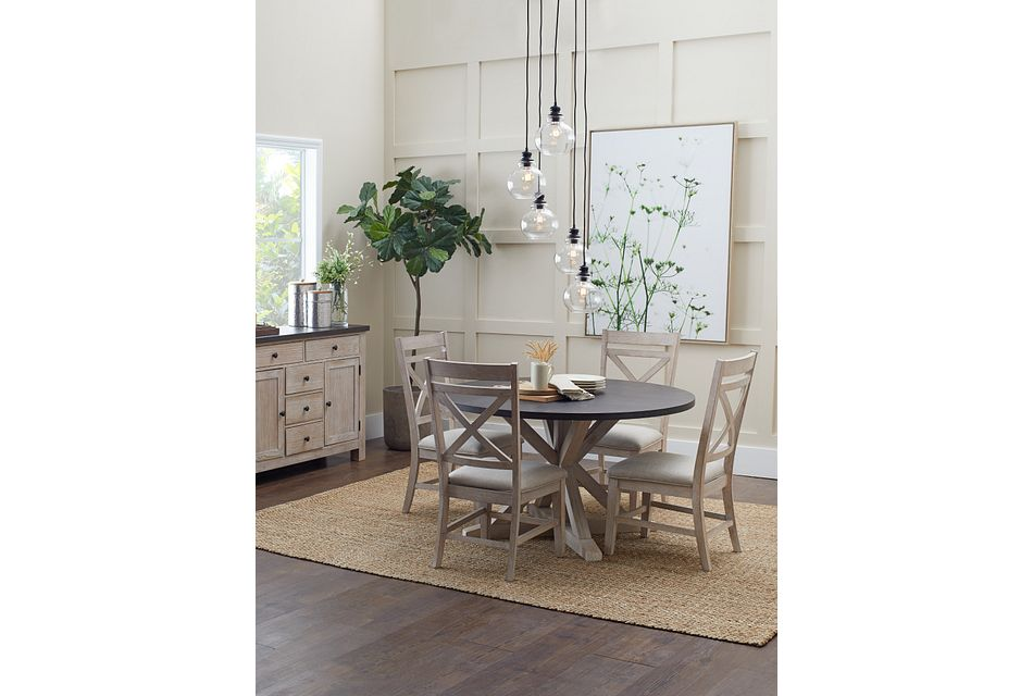 Jefferson Two-Tone  ROUND Table & 4 Wood Chairs,  (3)