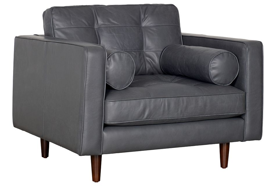Encino Gray Leather Chair