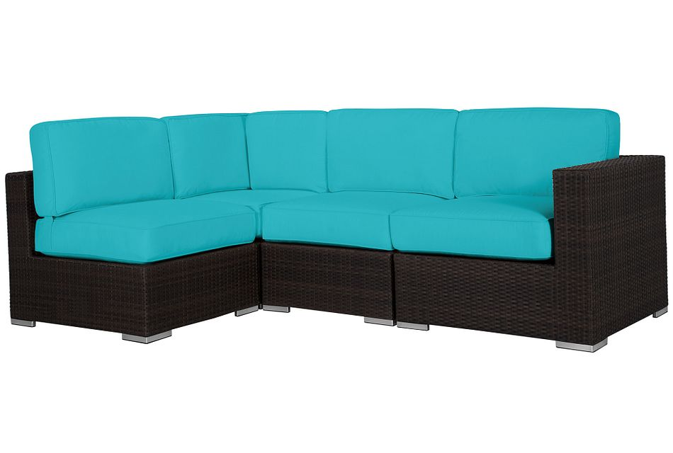 Fina Dark Teal 4-piece Modular Sectional