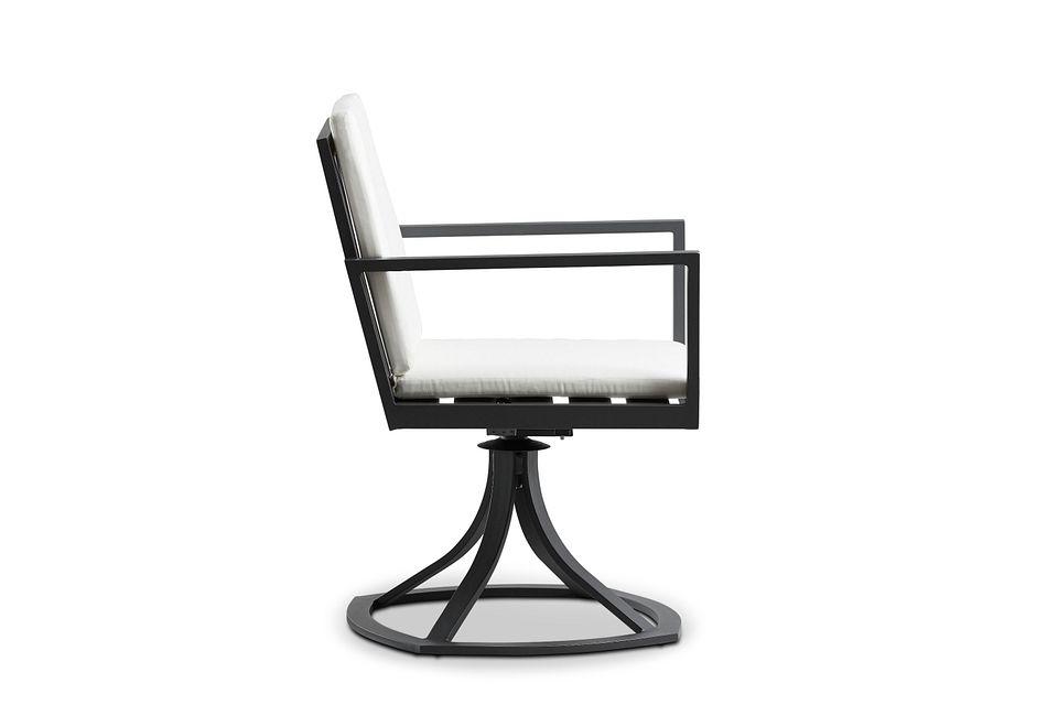 Linear Dark Gray White Swivel Arm Chair