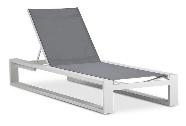 Linear White Aluminum Chaise