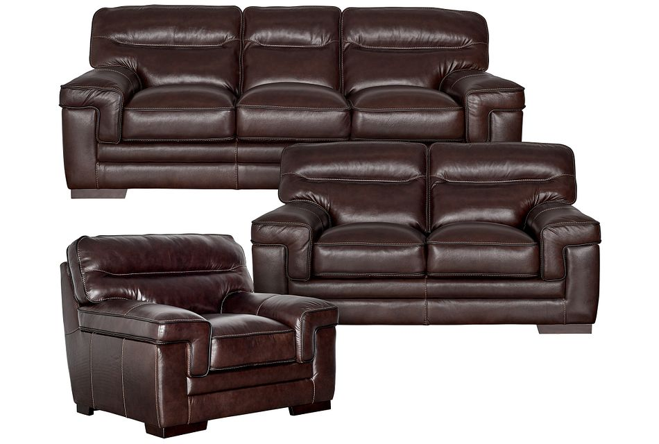 Alexander Dark Brown Leather Living Room