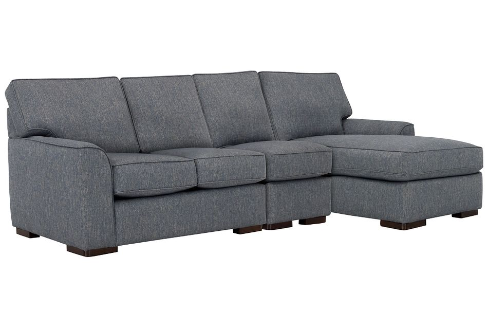 Austin Blue Fabric Small Right Chaise Sectional