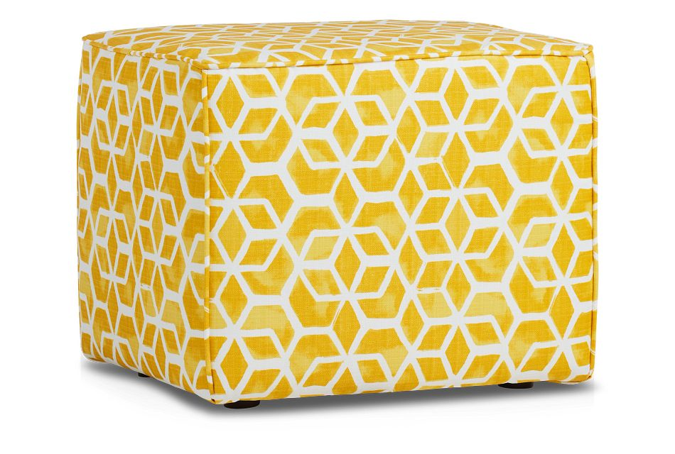 Celtic Yellow Geometric Indoor/outdoor Accent Ottoman