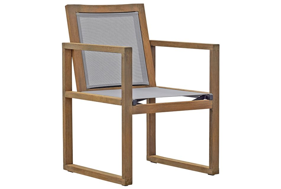 Linear Teak Sling Arm Chair