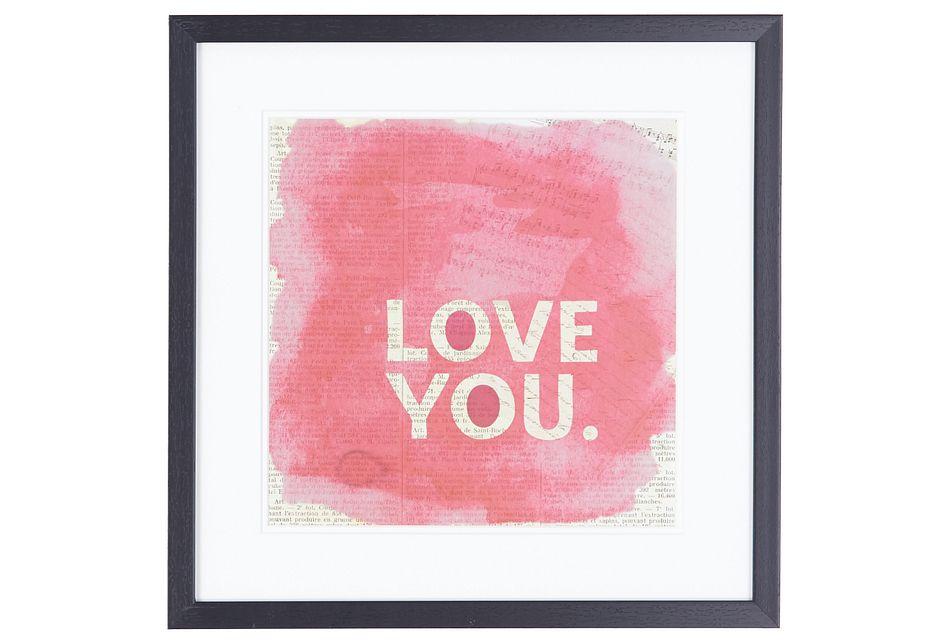Love You Pink Framed Wall Art