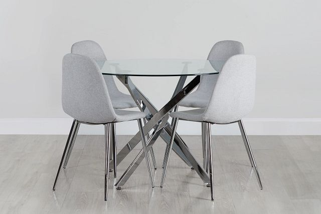 Havana Chrome Lt Gray Round Table & 4 Upholstered Chairs (0)
