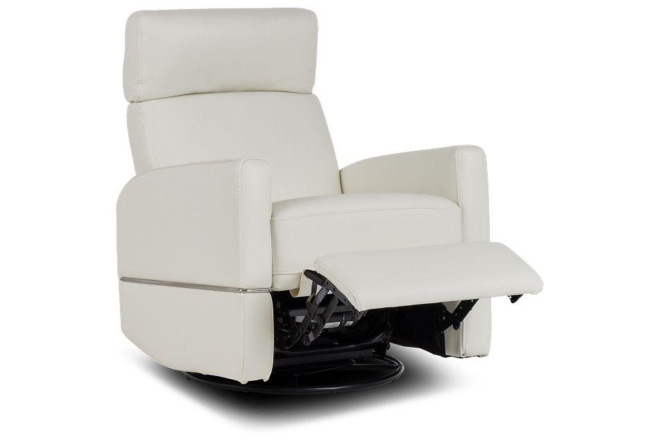 Cato White Leather Power Swivel Glider Recliner,  (3)