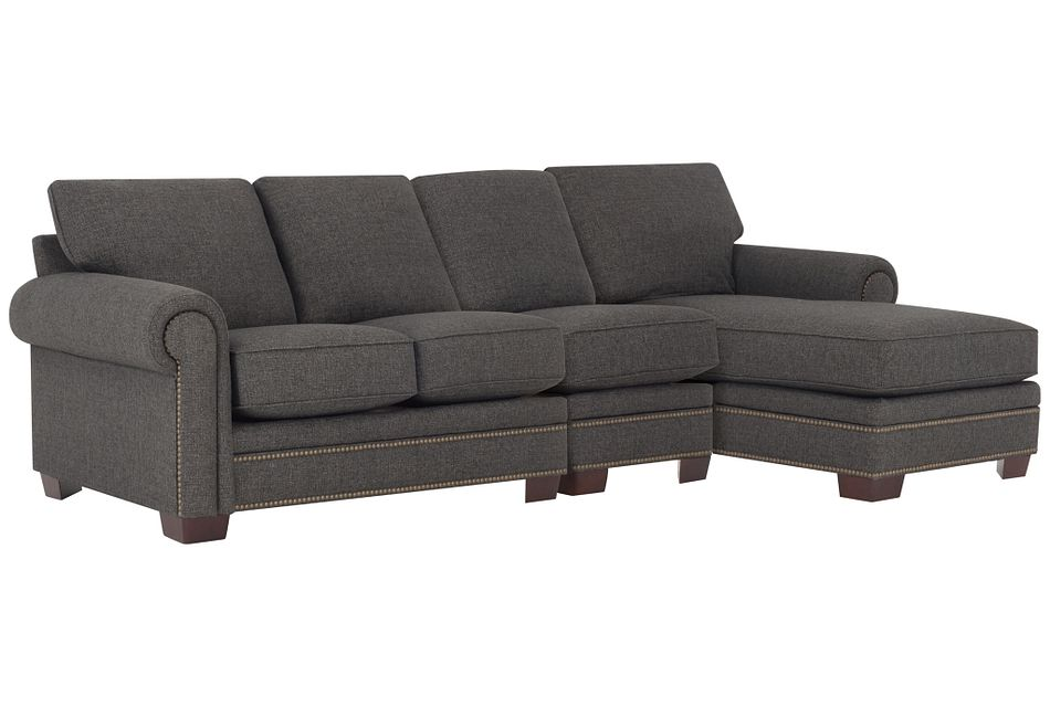 Foster Dark Brown Fabric Small Right Chaise Sectional