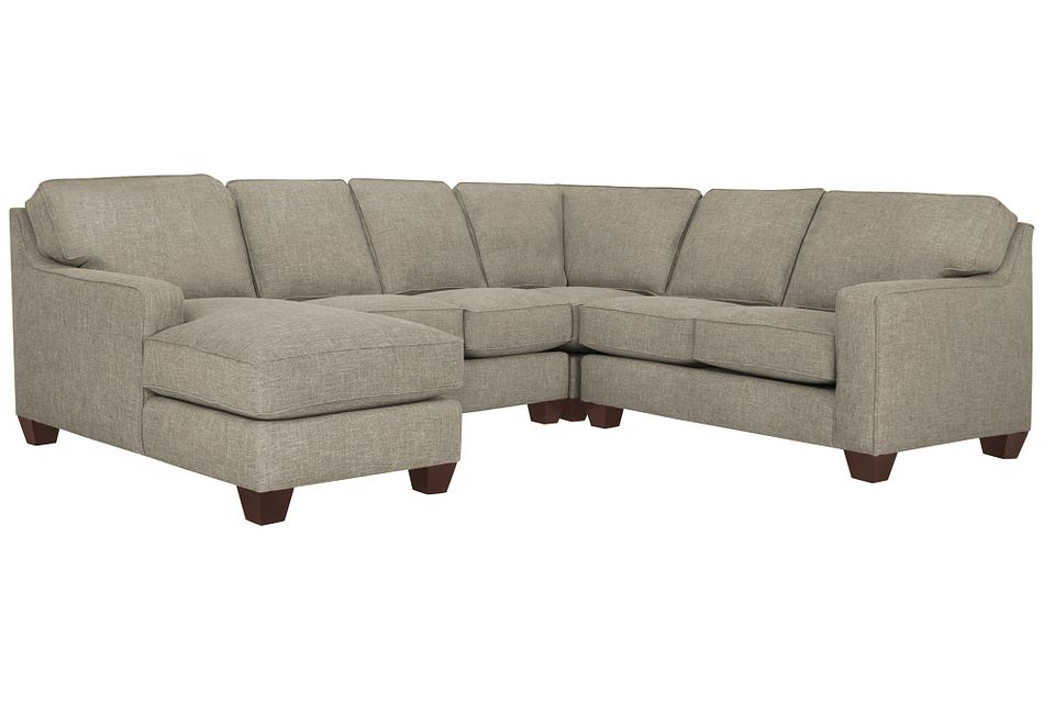 York Pewter Fabric Medium Left Chaise Sectional