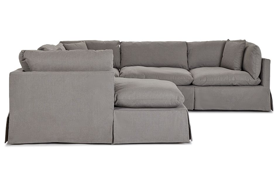 Raegan Gray Fabric Small Left Chaise Sectional,  (2)