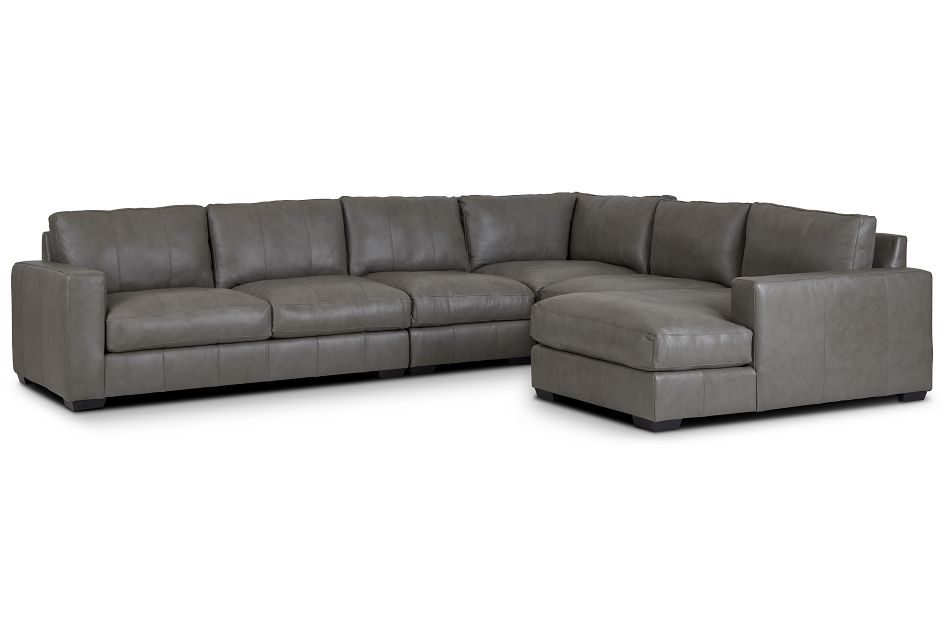 Dawkins Gray Leather Large Right Chaise Sectional,  (0)