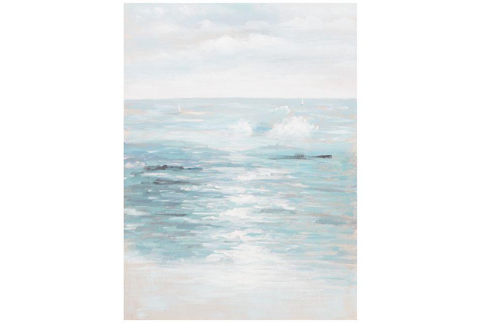 Seashore Light Blue Canvas Wall Art