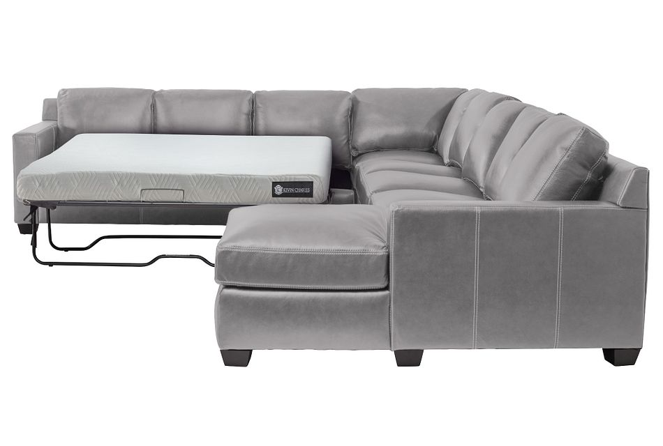 Carson Gray Leather Large Right Chaise Memory Foam Sleeper Sectional