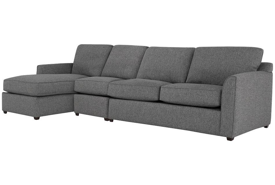 Asheville Gray Fabric Small Left Chaise Sectional