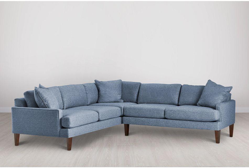Morgan Blue Fabric Medium 2-arm Sectional W/ Wood Legs
