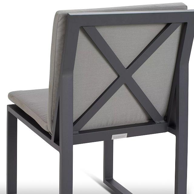 Linear Dark Gray Aluminum Cushioned Chair